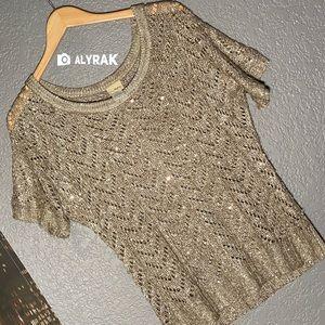 M - DAYTRIP - sequin gold sheer knit shirt